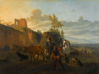 Italian landscape with soldiers