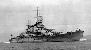 Italian battleship Roma (1940) starboard bow view.jpg