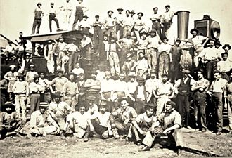 Rail transport in Costa Rica - Italians working in a Costa Rica's railway. A few of them remained to live in Costa Rica and their descendants resettled in the San Vito area