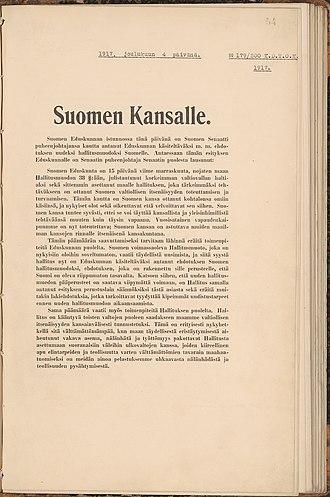 Finnish Declaration of Independence - Image: Itsenaisyysjulistus 1