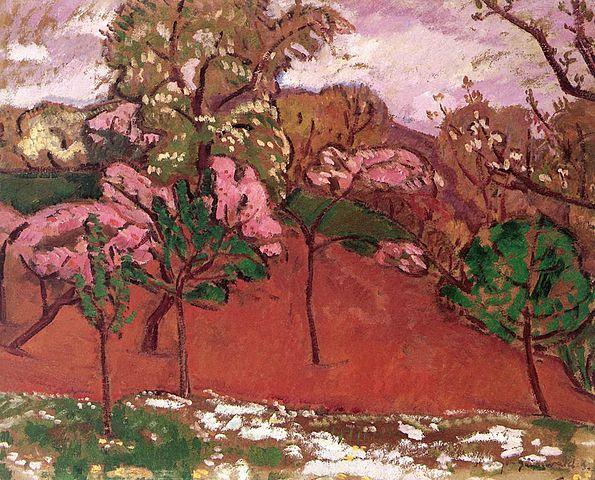 """> Peinture japonisante """"Paysage au printemps"""" de Béla Iványi-Grünwald."""