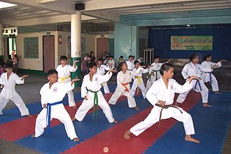 Karate gi - Karatekas hone their skills at the dojo wearing karate gi