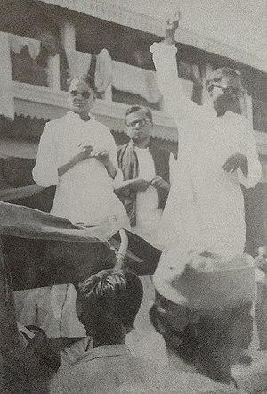 Rambriksh Benipuri - Image: JP, Lohia & Benipuri at Kisan Sabha CSP Patna Rally, August 1936