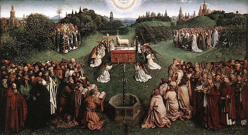 File:Jan van Eyck The Ghent Altarpiece - Adoration of the Lamb.jpg