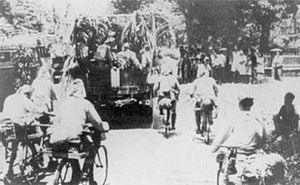 Battle of Java (1942) - Japanese bicycle infantry moving through Java.