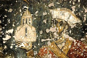 House of Jaqeli - Fresco of Prince Jaqeli at the Chulevi Monastery, 14th century.