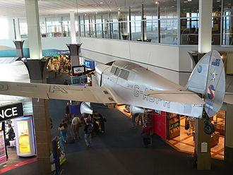 Jean Batten - Batten's Percival Gull on display at the Jean Batten Terminal at Auckland Airport