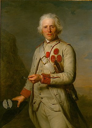 Jean Thurel - Jean Thurel, fusilier of the Touraine Regiment at 89 years of age. His three Médaillon Des Deux Épées medals and his Légion d'Honneur medal are visible in this 1788 portrait by Antoine Vestier, which was modified in 1804 to include the Légion d'Honneur.