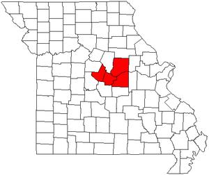 Jefferson City, Missouri metropolitan area - Map of Missouri highlighting the Jefferson City metropolitan area.