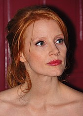A shot of Jessica Chastain as she looks away from the camera