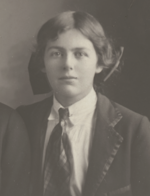 A photo of a young Joan Lindsay, posed in a school photograph