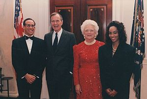 Jody Watley - Watley photographed with President George H. W. Bush, First Lady Barbara Bush, 1992.