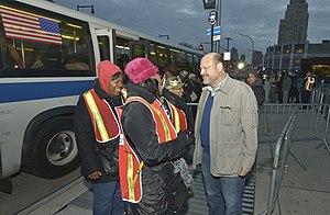 Joe Lhota - MTA Chair Joe Lhota speaks with transit workers during Sandy recovery efforts at Brooklyn's Atlantic Terminal