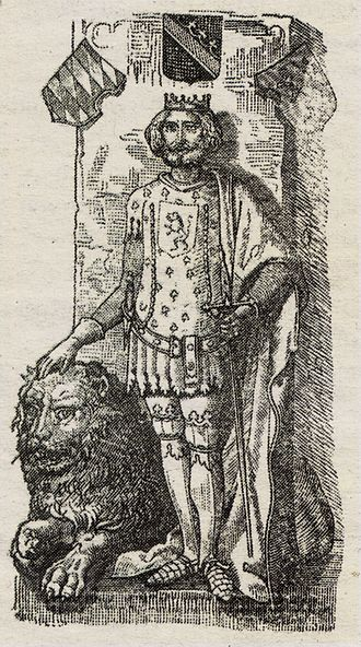 Henry the Lion - Henry and his lion (title page illustration from Karl Joseph Simrock's retelling of the folktale Geschichte des großen Helden und Herzogen Heinrich des Löwen und seiner wunderbaren höchst gefährlichen Reise (1844)).