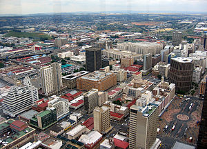 Suburbs of Johannesburg - Marshalltown, as seen from the top of the Carlton Centre. The M1 and M2 run behind the buildings, and the southern suburbs extend past the highway boundary.