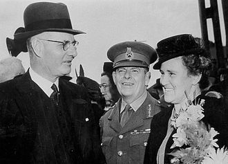 Member for Fremantle and wartime prime minister John Curtin (left) at the launch of HMAS Fremantle, 1942 John Curtin Fremantle.jpg