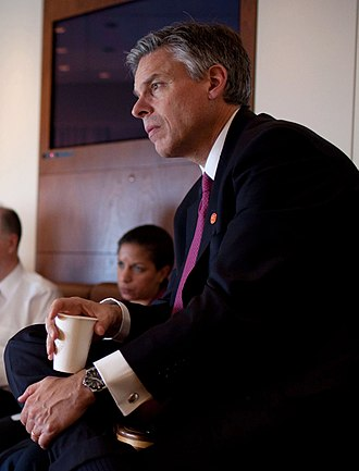 Jon Huntsman presidential campaign, 2012 - Huntsman on Air Force One during his tenure as U.S. Ambassador to China