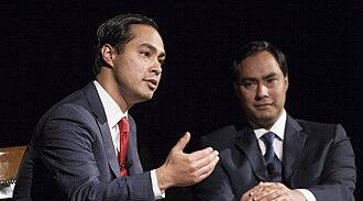 Julian Castro - Julian Castro and his twin brother Representative Joaquin Castro at the LBJ Presidential Library.