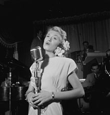 June Christy and Red Rodney at Club Troubadour, New York, ca. Sept. 1947, by William Gottlieb (LOC gottlieb.01251).jpg