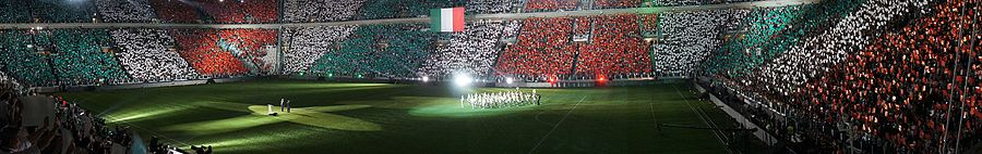 A panorama overview of the Juventus Stadium during its opening ceremony with a Italian banner choreography.