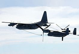 KC-130J VMGR-252 refuels VMM-263 MV-22B over Med 2011