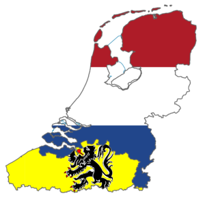 Greater Netherlands - Flag map of Greater Netherlands, including the Netherlands and Flanders.