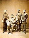 Kalakaua, his aides and cook during trip around the world (restored).jpg
