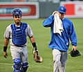 Kansas City Royals catcher Brayan Pena (27) and starting pitcher Danny Duffy (23) (5757394646).jpg