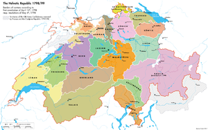 Helvetic Republic - Helvetic Republic, with borders according to First Helvetic constitution of 12 April 1798