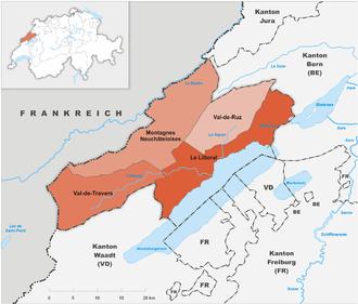 Karte Kanton Neuenburg Regionen 2010