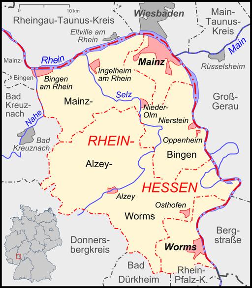 Karte Rheinhessen Topographie