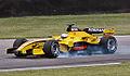 Karthikeyan (Jordan) locking brakes in qualifying at USGP 2005.jpg