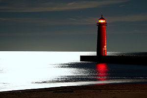 Kenosha lighthouse at night