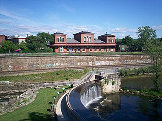 Kent Industrial District - 1875 Atlantic & Great Western Depot as seen from the Cuyahoga River