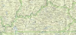 Mapa de Kentucky y de sus 120 condados.
