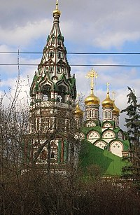 The Church of St. Nicholas in Khamovniki, of which Tolstoy was a parishioner before his excommunication.