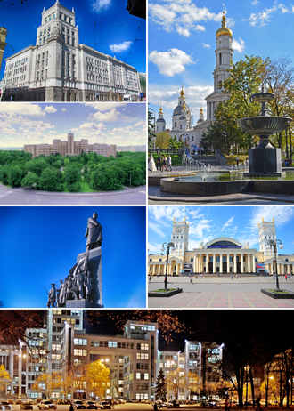 Kharkiv - Counterclockwise: Assumption Cathedral (big image), Kharkiv city council, National University of Kharkiv, Taras Shevchenko monument, Kharkiv Railway station, Derzhprom