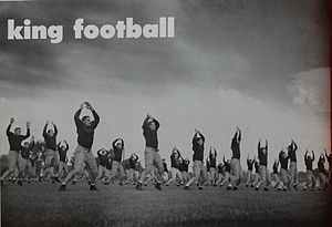 1947 Michigan Wolverines football team - 1947 Michigan team engaged in calisthenics
