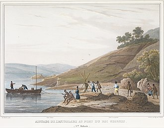 History of Western Australia - Crew of the French ship L'Astrolabe make contact with aborigines at King George Sound, 1826