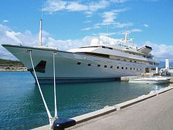Large yacht at a dock