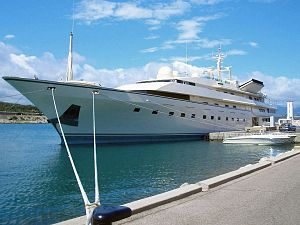 House of Saud - Luxury yacht Kingdom 5KR owned by Saudi royal family, docked in Antibes, French Riviera
