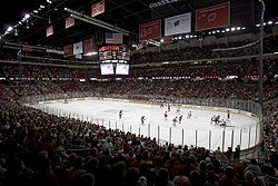 Inside the Kohl Center during a men's ice hockey game
