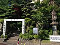 Kongomon Gate and sculpture of Kukai of Akashidera Temple (Sasaguri).jpg