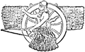 Kors, Guden Assur jämte solhjulet med strålar, Nordisk familjebok.png