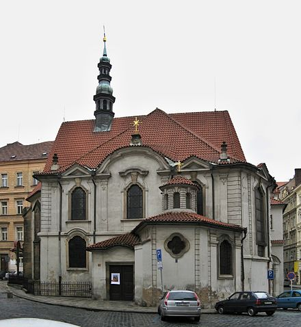 Dvorak was organist at St. Adalbert Church in Prague from 1874 to 1877. Kostel sv. Vojtecha v Praze na Novem Meste.jpg