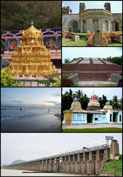 Clockwise from Top left: Kanakadurga Temple on Indrakeeladri, Kondapalli Fort, Buddhist Stupa at Ghantasala, Andhra MahaVishnu Temple at Srikakulam Village, Prakasam Barrage at Vijayawada, Machilipatnam Beach