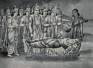 Shanti Parva - Image: Krishna and Pandavas along with Narada converse with Bhishma who is on bed of Arrows
