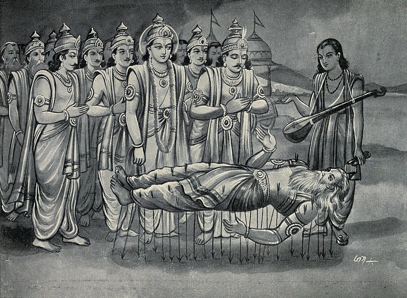 File:Krishna and Pandavas along with Narada converse with Bhishma who is on bed of Arrows.jpg