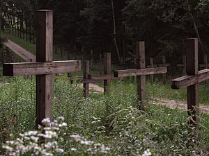 Mass graves from Soviet mass executions - Image: Kurapaty near Minsk is the place where mass executions of Belarusian civilians were carried out during the Stalin regime (1937 1941) panoramio Andrej Kuźniečyk (13)
