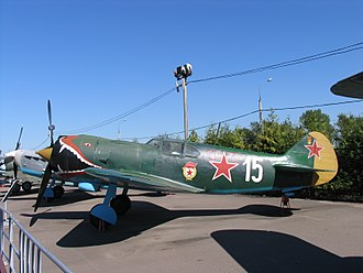 Lavochkin La-5 - Lavochkin La-5 replica of Capt Georgii Dmitrievich Kostylev's La-5 of the 4th GIAP, White 15 that served in Leningrad 1943, at the Museum of the Great Patriotic War in Moscow, 2005.